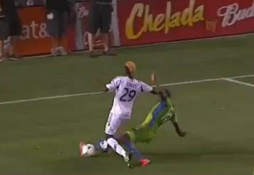 "MLS announcers betray their ignorance by calling referee Toledo's penalty ""ridiculous""."