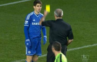 Oscar's acting performance gets two thumbs down from referee Martin Atkinson.
