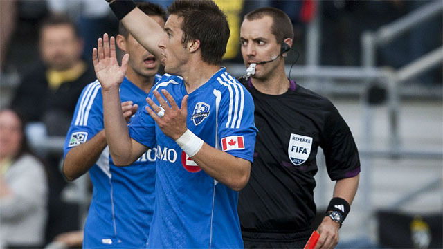 MLS Referee, Mark Geiger, sends off Impact player for elbowing opponent!